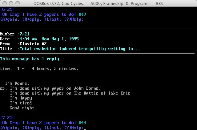 Screenshot of an email predecessor on a BBS. photo (cc) by Andy Langager