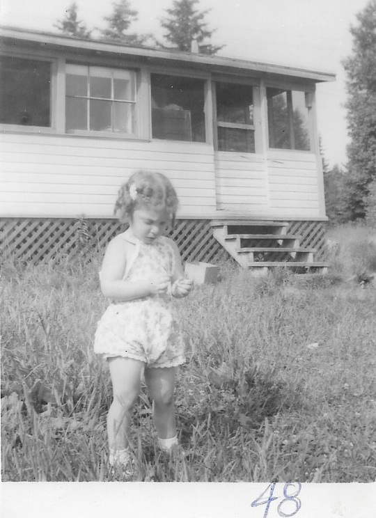 Summer 1947 Val Morin - although I notice my father wrote '48 on the pic. But what did he know, eh? Note the little cabin where we all crammed in, two or three families.