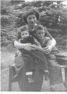 Beautiful mom, cute kids. August 1947, Val Morin. He's actually daring to lean next to me!