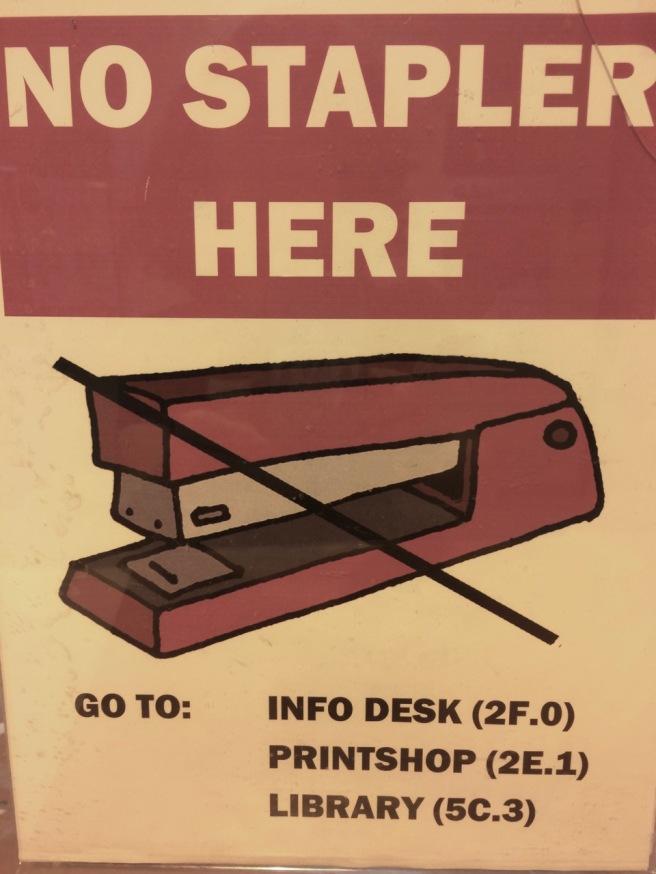 no stapler here