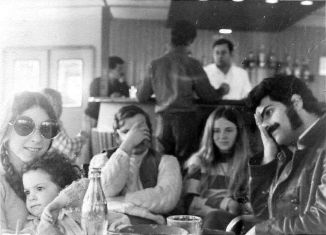 Hydra ferry- tired bunch of us. 1971.