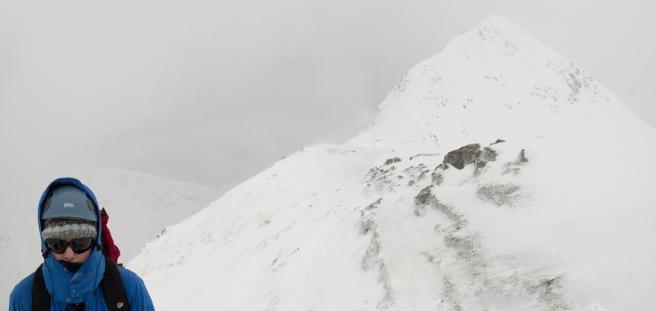 Woman +snow mountain
