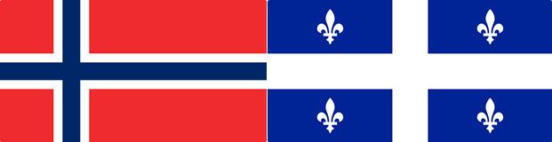 Norwegian flag; Quebec flag