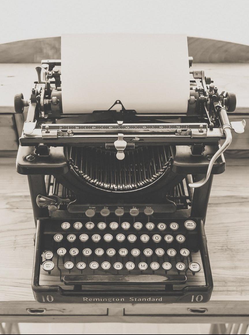 black vintage typewriter